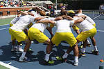 14 May 2016: Michigan's players huddle before the match. The Wake Forest University Demon Deacons hosted the University of Michigan Wolverines at the Wake Forest Tennis Center in Winston-Salem, North Carolina in a 2015-16 NCAA Division I Men's Tennis Tournament Second Round match. Wake Forest won the match 4-2.