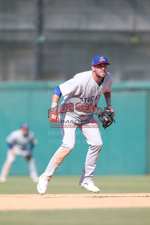 Branden Cogswell (11) of the Stockton Ports in the field during a game against the Inland Empire 66ers at The Hanger on April 11, 2015 in Lancaster, California. San Jose defeated Lancaster, 8-3. (Larry Goren/Four Seam Images)