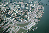 1975 October ..Redevelopment.Downtown West (A-1-6)..AERIAL VIEW.LOOKING EAST..NEG#.NRHA# 4800..