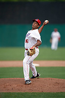 Auburn Doubledays relief pitcher Joseph Baltrip (36) during the first game of a doubleheader against the Mahoning Valley Scrappers on July 2, 2017 at Falcon Park in Auburn, New York.  Mahoning Valley defeated Auburn 3-0.  (Mike Janes/Four Seam Images)