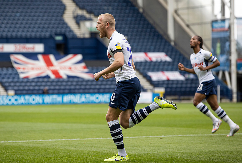 Preston North End's Jayden Stockley (centre) celebrates scoring his side's first goal  <br /> <br /> Photographer Andrew Kearns/CameraSport<br /> <br /> The EFL Sky Bet Championship - Preston North End v Nottingham Forest - Saturday 11th July 2020 - Deepdale Stadium - Preston <br /> <br /> World Copyright © 2020 CameraSport. All rights reserved. 43 Linden Ave. Countesthorpe. Leicester. England. LE8 5PG - Tel: +44 (0) 116 277 4147 - admin@camerasport.com - www.camerasport.com