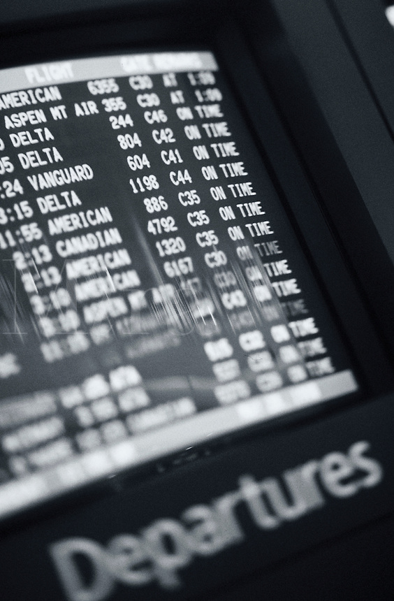 A flight departure monitor.