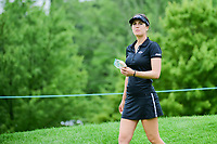 Sandra Gal (DEU) eats a sandwich as she departs the number 1 tee for her back nine during Friday's second round of the 72nd U.S. Women's Open Championship, at Trump National Golf Club, Bedminster, New Jersey. 7/14/2017.<br /> Picture: Golffile | Ken Murray<br /> <br /> <br /> All photo usage must carry mandatory copyright credit (&copy; Golffile | Ken Murray)