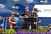 Scott Dixon, Chip Ganassi Racing Honda, Will Power, Team Penske Chevrolet, Robert Wickens, Schmidt Peterson Motorsports Honda, podium, champagne.
