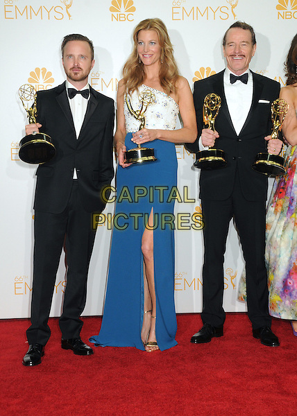 25 August 2014 - Los Angeles, California - Aaron Paul, Anna Gunn, Bryan Cranston. 66th Annual Primetime Emmy Awards - Press Room held at Nokia Theatre LA Live. <br /> CAP/ADM/BGP<br /> &copy;BGP/ADM/Capital Pictures