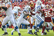 Landover, MD - September 16, 2018: Indianapolis Colts running back Marlon Mack (25) running the ball during the  game between Indianapolis Colts and Washington Redskins at FedEx Field in Landover, MD.   (Photo by Elliott Brown/Media Images International)