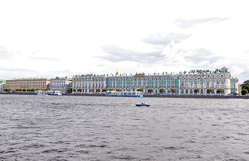 St. Petersburg, Russia - August 15, 2009 -- The Winter Palace and the 4 historic buildings that comprise the Hermitage on the banks of the Neva River in St. Petersburg, Russia on Saturday, August 15, 2009.  The Hermitage is known as one of the greatest museums in the world. It consists the Winter Palace - the residence of the Russian Tsars and 4 other historical buildings.  The museum's collection includes over 3 million pieces of art with dates ranging from high antiquity to the present day. .Credit: Ron Sachs / CNP