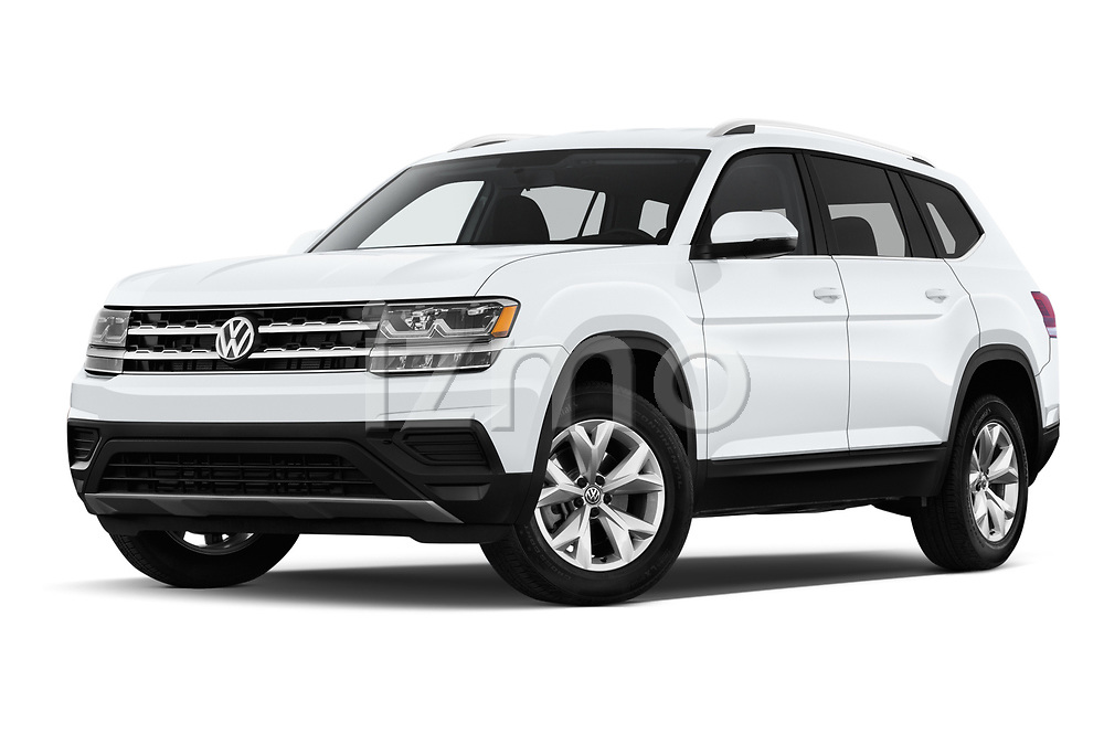 Stock pictures of low aggressive front three quarter view of a 2019 Volkswagen Atlas S 5 Door SUV