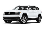 Stock pictures of low aggressive front three quarter view of a 2018 Volkswagen Atlas S 5 Door SUV