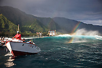 TEAHUPOO, Tahiti (Wednesday, May 13, 2009) The webcast and photo boat. - The 2009 Billabong Pro Tahiti presented by Air Tahiti Nui continued today with the remaining two heats of Round One and the first six heats of Round two. The contest was put on hold till 11 am when Heat 15 began. The contest was put back on hold at the end of Heat 16 after a wind and rain squall blew through the site and conditions became unsurfable. It was restarted at 2 pm and ran till dark in windy 1-5 meter waves...The event is Stop No. 3 of 10 on the 2009 ASP World Tour and boasts a waiting period from May 9 through May 20, 2009..The contest brings together 45 of the world's best surfers charging the heaviest wave on earth in one of the most pristine locations on the planet..This year's event will run the new format, seeding all competitors directly into man-on-man elimination heats, with the Top 16 seeded directly into Round 2 while the remaining surfers battle it out in Round 1...Photo: joliphotos.com