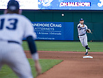 Nevada Wolf Pack shortstop Joshua Zamora (8) makes the play throw to first basemen Josh Prizina (13) against the Reno Aces at Greater Nevada Field in downtown Reno, Nevada on Tuesday, April 2, 2019.