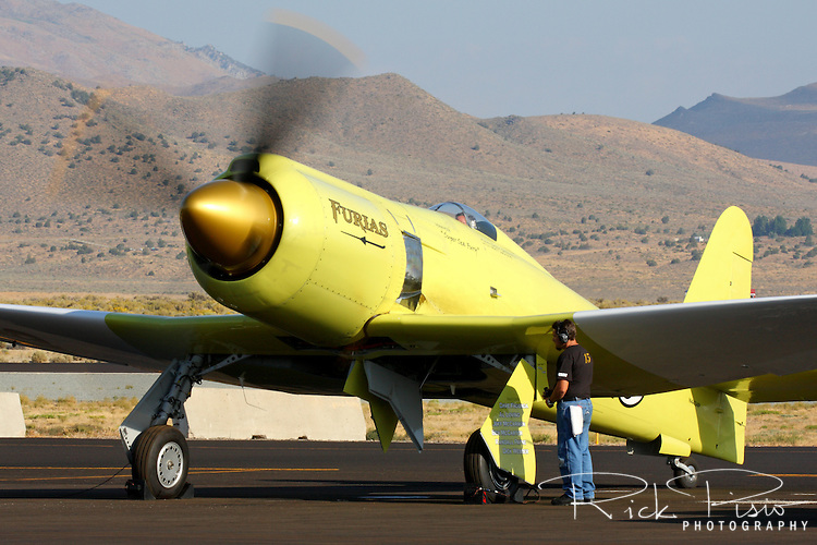 Hawker Sea Fury Furias does an engine test run during the 2011 Reno National Championship Air Races