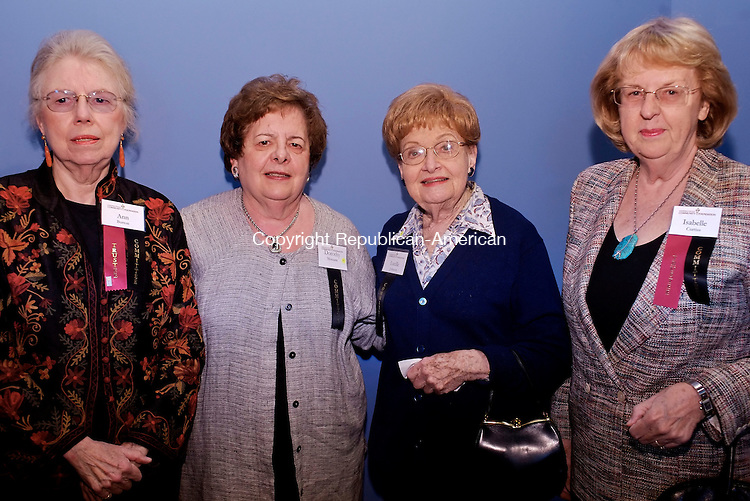 WATERBURY, CT--03 October 07--100307TJ10 - Ann Burton, from left, president of the Board of Trustees of the Connecticut Community Foundation, Dorothy Murnane, a member of the Scholarship Committee, Lucille johnson, a committee member, and Isabelle Curtiss, a treasurer at the foundation,  attend a reception for the Connecticut Community Foundation at Timexpo in Waterbury, Conn., on Wednesday, October 3, 2007. T.J. Kirkpatrick/Republican-American
