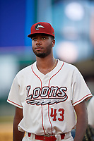 Great Lakes Loons pitcher Mark Washington (43) during a Midwest League game against the Clinton LumberKings on July 19, 2019 at Dow Diamond in Midland, Michigan.  Clinton defeated Great Lakes 3-2.  (Mike Janes/Four Seam Images)