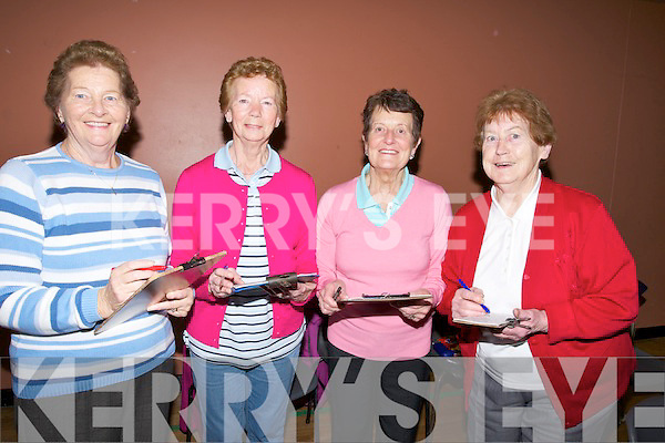 SUPER; Markng their bingo cards hoping to win the the Super Bingo Prize of €3,000 at the John Mitchels GAA Club Super bingo in the KDYS Denny Street, Tralee on Friday night, l-r: Marina Lehane, Frances Locke, Mary Kerins and Mary Brick..........