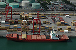 Aerial view of Container Ship unloading/loading in the Port of Montreal.