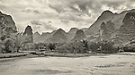 Karst Formations & Shacks, Li River, Guilin.