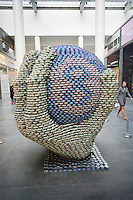 Ask the Magic 8 Ball by Gilsanz Murray Steticek  in the 23rd annual Canstruction Design Competition in New York, seen on Friday, November 6, 2015, on display in Brookfield Place. The sculpture is made of 7056 cans and will feed 1838 New Yorkers. Architecture and design firm participate to design and build giant structures made from cans of food.  The cans are donated to City Harvest at the close of the exhibit. Over 100,000 cans of food were collected and will be used to feed the needy at 500 soup kitchens and food pantries. (© Richard B. Levine)