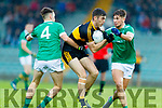 David Shaw Dr. Crokes in action against Michael Reidy Saint Kierans and Eamon Kiely Saint Kierans in the Kerry Senior Football County Championship Round Two between Dr. Crokes and Saint Kierans at Austin Stack Park Tralee on Saturday.