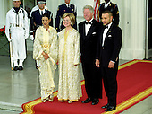 United States President Bill Clinton, right center, and first lady Hillary Rodham Clinton, left center, pose for a formal photo with guests King Mohammed VI , right, and HRH Princess Lalla Meryem, left,  of Morocco on the North Portico of the White House in Washington, D.C. as they arrive for a State Dinner in the King's honor at the White House in Washington, DC on June 20, 2000. <br /> Credit: Ron Sachs / CNP