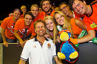 September 13, 2014, Netherlands, Amsterdam, Ziggo Dome, Davis Cup Netherlands-Croatia, Dutch captain Jan Siemerink poses with supporters<br /> Photo: Tennisimages/Henk Koster