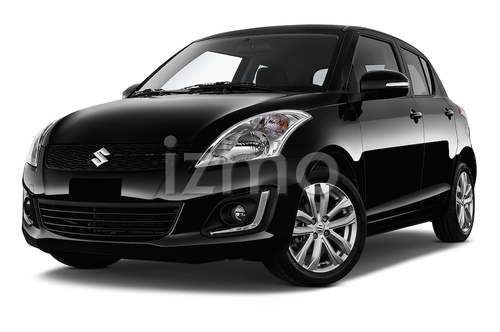 Stock pictures of low aggressive front three quarter view of a 2013 Suzuki SWIFT Grand Luxe @ttraction 5 Door Hatchback 2WD Low Aggressive