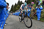 Chris Froome (GBR) Team Sky, followed by Maglia Rosa Simon Yates (GBR) Mitchelton-Scott, climbs to victory near the finish of Stage 14 of the 2018 Giro d'Italia, running 186km from San Vito al Tagliamento to Monte Zoncolan features Europe's hardest climb, Italy. 19th May 2018.<br /> Picture: LaPresse/Fabio Ferrari | Cyclefile<br /> <br /> <br /> All photos usage must carry mandatory copyright credit (&copy; Cyclefile | LaPresse/Fabio Ferrari)