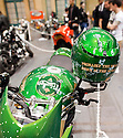 """LONDON INTERNATIONAL CLASSIC AND CUSTOM SHOW  - Alexandra Palace  - 26.2.12.Carling style  triumph bike with - """"probably the worst biker in the world"""" helmet....Picture by Gavin Rodgers/ Pixel8000. 07917221968"""