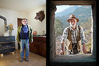 Truffle hunters Jean Claude Authier (left) and Max George (right) pose for the photographer, Puget-Theniers, Alpes Maritimes, France, 09 February 2011