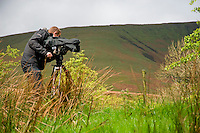 Film cameraman filming wildlife in front of fells, Whitewell, Lancashire, England. Camera has wet weather protective cover.....Copyright..John Eveson,.Dinkling Green Farm,.Whitewell,.Clitheroe,.Lancashire..BB7 3BN.Tel. 01995 61280.Mobile 07973 482705.j.r.eveson@btinternet.com.www.johneveson.com