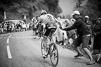 Laurens ten Dam (NLD/Giant-Alpecin) accepting a coke from a bystander up the Mont&eacute;e de Bisanne (HC/1723m/12.4km/8.2%)<br /> <br /> Stage 19:  Albertville &rsaquo; Saint-Gervais /Mont Blanc (146km)<br /> 103rd Tour de France 2016