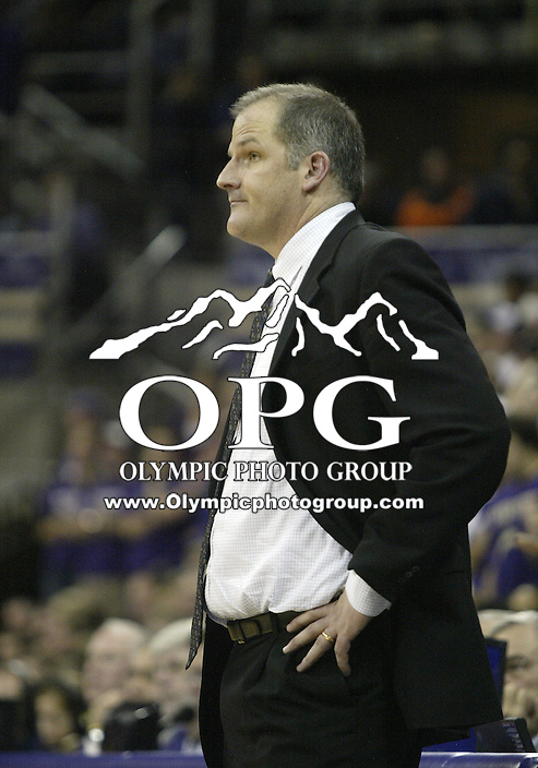 19 December 2009:  Portland head coach Eric Reveno watches his team from the bench against Washington. Washington won 89-54 over Portland at the Bank of America Arena in Seattle, WA.