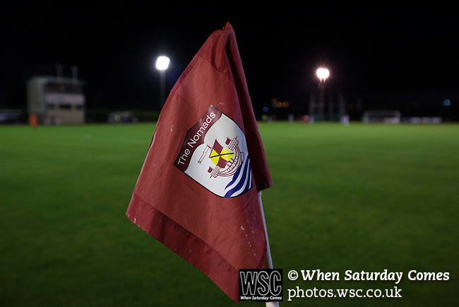 Connah's Quay Nomads 1 Llandudno 1, 20/09/2016. Deeside Stadium, Welsh Premier League. A corner flag seen during the first-half at the Deeside Stadium as Connah's Quay Nomads played Llandudno in a Welsh Premier League match. Both clubs represented Wales in the 2016-17 Europa League, the first time either had competed in European competition. The match ended in a 1-1 draw, watched by 181 spectators. Photo by Colin McPherson.