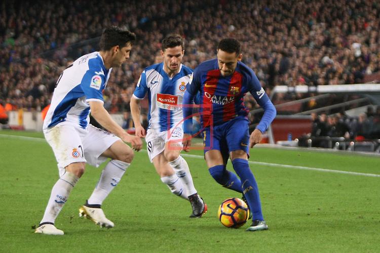 League Santander 2016/2017. Game: 16.<br /> FC Barcelona vs RCD Espanyol: 4-1.<br /> Javi Lopez, Pablo Piatti &amp; Neymar Jr.