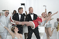 A Very Murray Christmas (2015)<br /> Paul Shaffer, George Clooney, Bill Murray &amp; Miley Cyrus<br /> *Filmstill - Editorial Use Only*<br /> CAP/KFS<br /> Image supplied by Capital Pictures