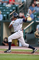 September 4, 2009:   Center Fielder Austin Jackson of the Scranton Wilkes-Barre Yankees at bat during a game at Frontier Field in Rochester, NY.  Scranton is the Triple-A International League affiliate of the New York Yankees and clinched the North Division Title with a victory over Rochester.  Photo By Mike Janes/Four Seam Images