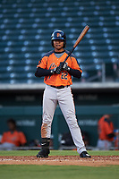 AZL Giants Orange Luis Toribio (22) at bat during an Arizona League game against the AZL Cubs 1 on July 10, 2019 at Sloan Park in Mesa, Arizona. The AZL Giants Orange defeated the AZL Cubs 1 13-8. (Zachary Lucy/Four Seam Images)