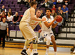 SIOUX FALLS, SD - NOVEMBER 25: Jerrod Walton #3 from the University of Sioux Falls drives to the basket against Turner Moen #21 and Kolin Bartlett #50 from Southwest Minnesota State University during their game Saturday night at the Stewart Center in Sioux Falls. (Photo by Dave Eggen/Inertia)