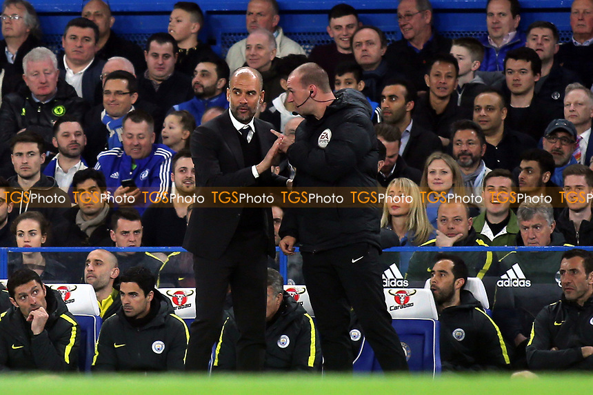 Fourth Official, Bobby Madley, has words with Manchester City Manager, Pep Guardiola during Chelsea vs Manchester City, Premier League Football at Stamford Bridge on 5th April 2017
