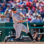 30 July 2017: Colorado Rockies infielder DJ LeMahieu connects for an RBI double in the 6th inning against the Washington Nationals at Nationals Park in Washington, DC. The Rockies defeated the Nationals 10-6 in the second game of their 3-game weekend series. Mandatory Credit: Ed Wolfstein Photo *** RAW (NEF) Image File Available ***