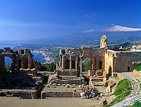 Italy, Sicily, Taormina: Greek Theatre and volcano Etna