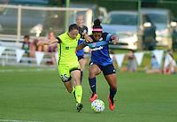 Kansas City, MO - Saturday June 25, 2016: Kiersten Dallstream, Desiree Scott during a regular season National Women's Soccer League (NWSL) match at Swope Soccer Village.
