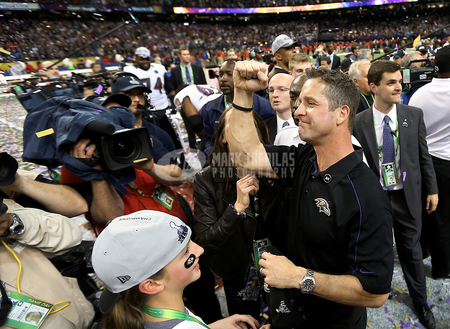 Feb 3, 2013; New Orleans, LA, USA; Baltimore Ravens head coach John Harbaugh pumps his fist after defeating the San Francisco 49ers in Super Bowl XLVII at the Mercedes-Benz Superdome. Mandatory Credit: Mark J. Rebilas-