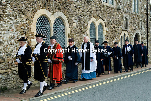 Mayoring Ceremony Winchelsea East Sussex.<br /> <br /> Mayor Mr Steven Turner, with Dr John Spencer as his deputy, who will be Mayor for the year 2015/2016.<br /> <br /> There has been a mayor of Winchelsea for over 700 years, with records dating back to 1295. The Mayoring Ceremony takes place annually on Easter Monday, and since 1665 this has been held in the Upper Court Hall.<br /> <br /> The new Mayor is attended by twelve Jurats of the Town, selected annually at the Mayoring. The Mayor is assisted by the Town Clerk, the Chamberlain and the Sergeant-at-Mace.
