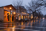 Christmas lights in the rain, downtown historic Mother Lode Gold Rush town of Murphys, Calaveras Co., Calif.