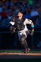 Tri-City ValleyCats catcher Oscar Campos (2) tracks a pop up during a game against the Vermont Lake Monsters on June 16, 2018 at Joseph L. Bruno Stadium in Troy, New York.  Vermont defeated Tri-City 6-2.  (Mike Janes/Four Seam Images)