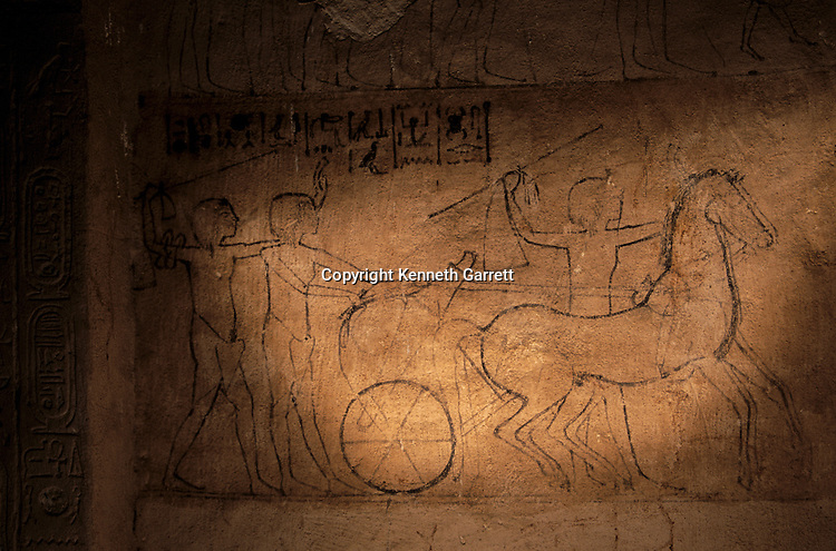 Sketch of Akhenaten driving a chariot, tomb of Mahu, 'Chief of Police of Akhetaten',El-Amarna, South Tombs,18th dynasty; Akhenaten; Amenhotep IV; New Kingdom