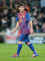 FUSSBALL   CHAMPIONS LEAGUE SAISON 2011/2012   HALBFINALE   RUECKSPIEL        FC Barcelona - FC Chelsea       24.04.2012 Lionel Messi (Barca) ist nach seinem verschossenen Elfmeter enttaeuscht