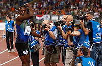 Roma  il campione olimpico Usain Bolt dopo la sconfitta nei 100 metri <br /> <br /> Usain Bolt of Jamaica reacts at the end of the 100m event at the Golden Gala IAAF Diamond League  at the Olympic stadium in Rome
