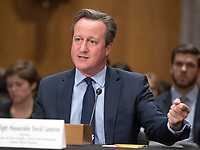 Former Prime Minister David Cameron of the United Kingdom, Chairman, Commission on State Fragility, Growth and Development, testifies at a hearing before the United States Senate Committee on Foreign Relations &quot;to examine state fragility, growth, and development, focusing on designing policy approaches that work&quot; on Capitol Hill in Washington, DC on Tuesday, March 13, 2018.<br /> Credit: Ron Sachs / CNP /MediaPunch